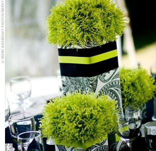 Green And Black Reception Wedding Flowers Decor Flower Centerpiece
