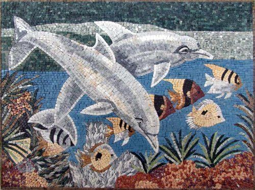 """36x48"""" Dolphins And Fish Marble Art Tile Pool Bath by Mozaico. $585.00. Mesh backing. All natural stones. Uses and display locations are unlimited!. Design can be customized as to size and / or design. Completely hand-made. Mosaics have endless uses and infinite possibilities! They can be used indoors or outdoors, be part of your kitchen, decorate your bathroom and the bottom of your pools, cover walls and ceilings, or serve as frames for mirrors and paintings."""