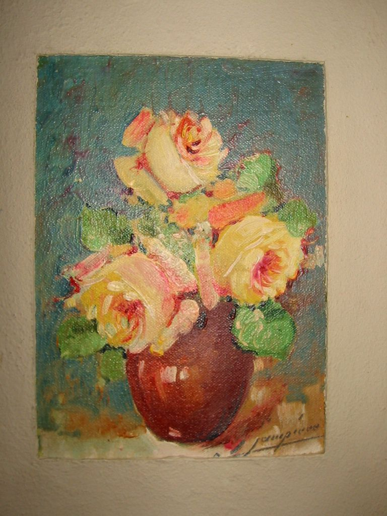 "Painting of Flowers "" Roses "" in Vase Vintage Signed Listed Artist 