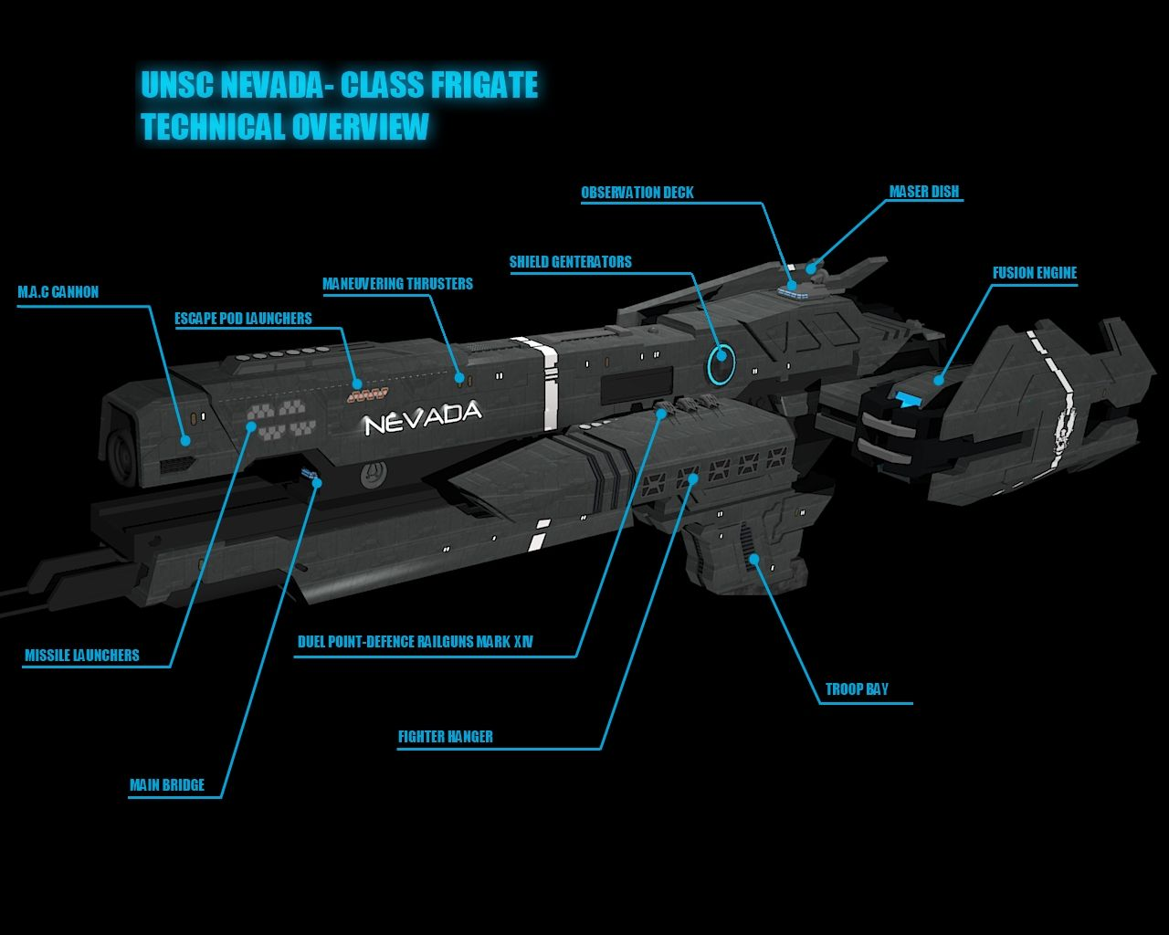 Halo Frigate Nevada- Technical Overview by calamitySi on DeviantArt
