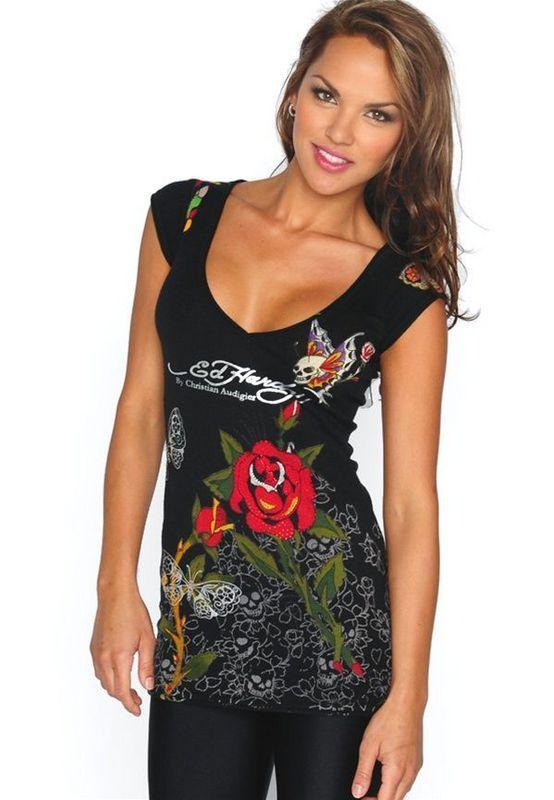d0521db8a641 Ed Hardy V T Shirts Black Tiger For Women