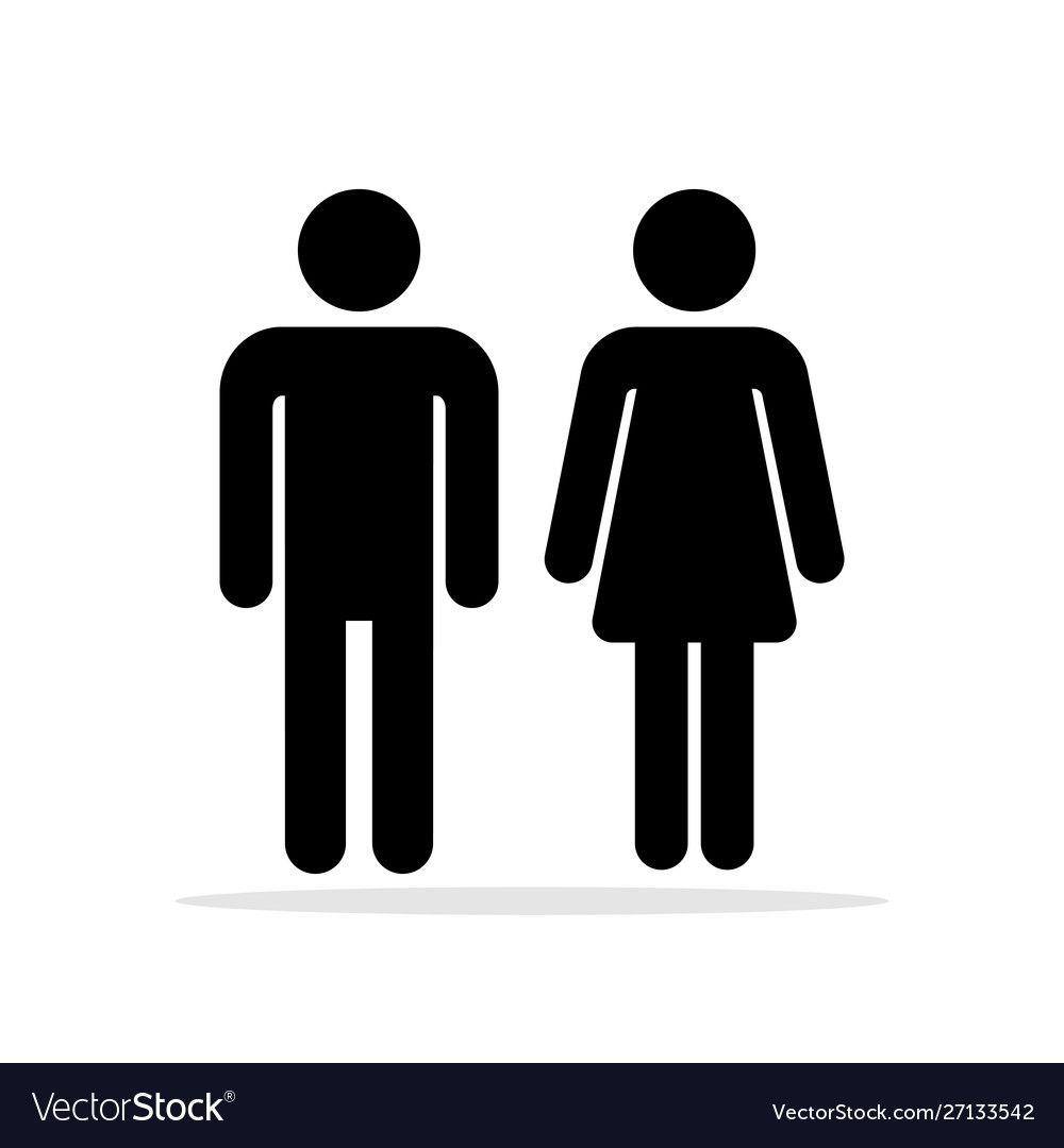 People Bathroom Icons Vector Image On Vectorstock In 2020 Icon Pictogram Toilet Symbol