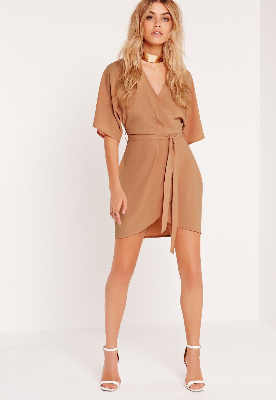 ece3a694d13c Missguided - Kimono Wrap Over Belted Mini Dress Nude