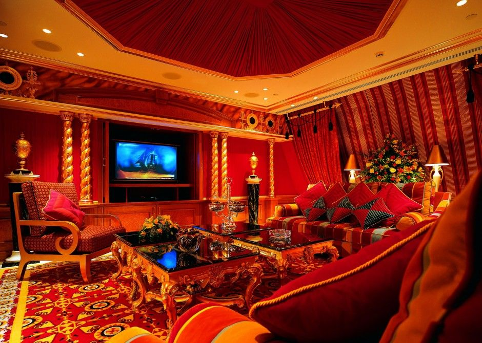 Beautiful Red Living Room Design Pic12 Dubai Hotel Interior