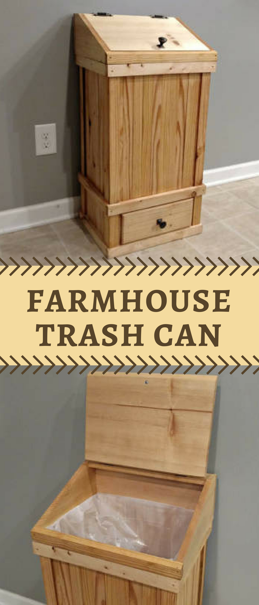 Farmhouse Style Decorative Wood Trash Bin Rustic Garbage Or Recycling Cover Minimalist Simple Decor Idea For The Home Cabin