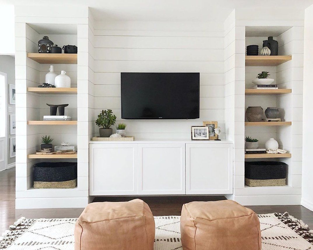 Rustic Charm With Shiplapped Media Built Ins Built In Shelves Living Room Living Room Built Ins Living Room Tv