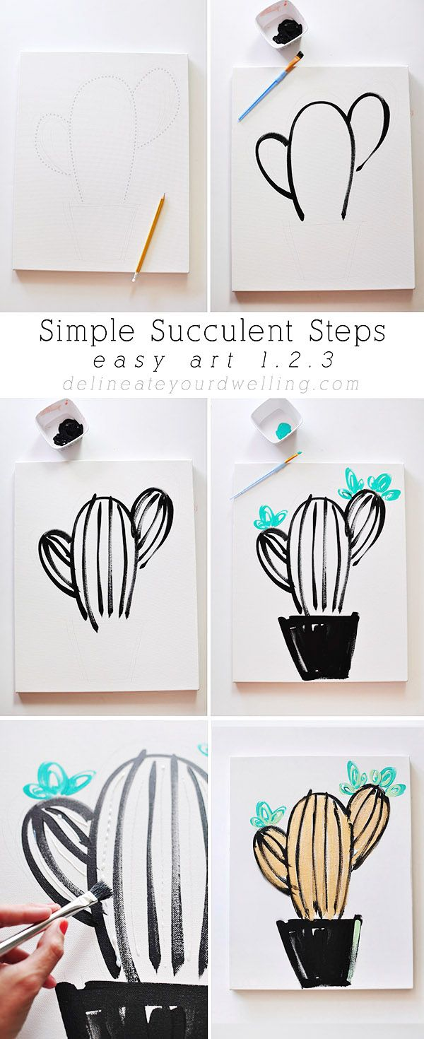Easy art in simple succulent leaves gold and paintings