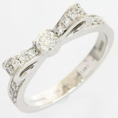 Chanel 18K White Gold Diamond Ribbon Dialing Ring US Size 4 With Cert