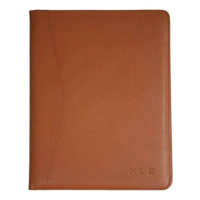 Personalized Royce Leather Pad Portfolio Tan With Elm
