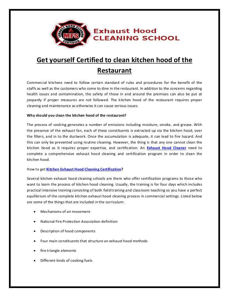 Get yourself certified to clean kitchen hood of the Restaurant in ...