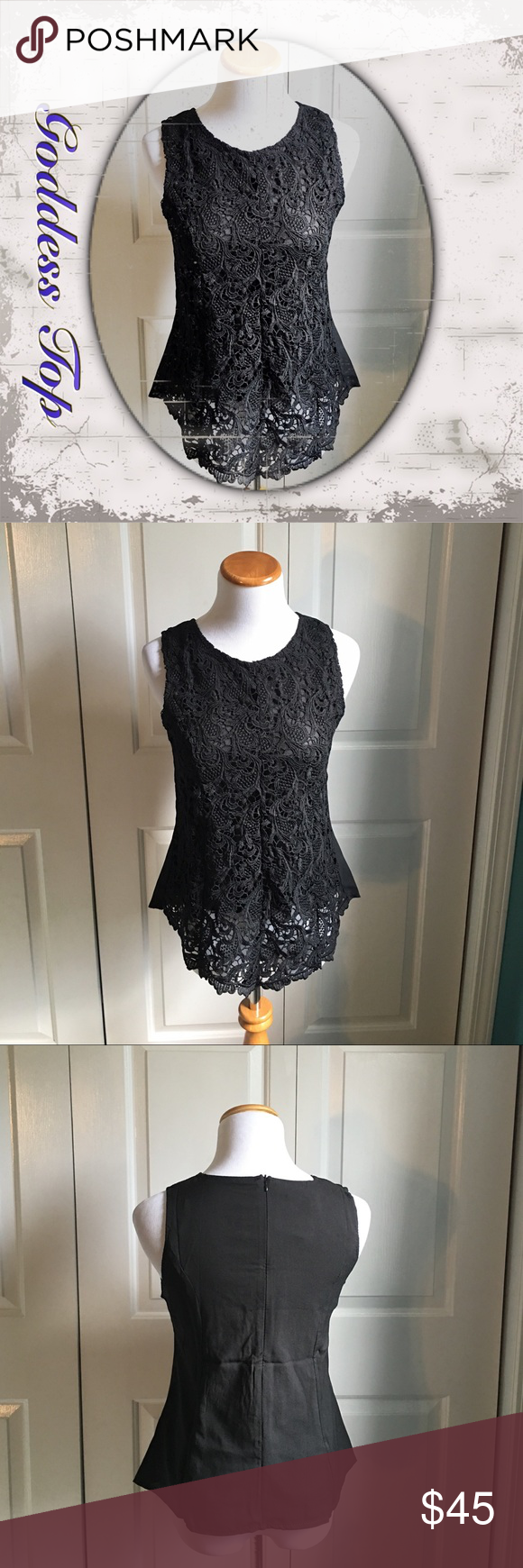 """Goddess Top A top so beautiful it could only be called the Goddess top! Wear it as a blouse for work, or dress it down with some jeans. Very versatile.Black crotchet detail in front, and fully lined. Zip up back. Chiffon back. Small has a bust of 34"""", medium 35.5"""", large 37"""". Sits at hip. Runs true to size. Brand new with tags. Tops"""