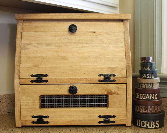 Wooden Bread Box Kitchen Storage Wood Vegetable Potato Bin Rustic