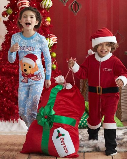 e2d6b88c5 Boys Personalized Santa Suit   Hat Set - exclusively ours - Santa knows how  to stay cozy and comfy -- his belted suit is actually fleece pj s! Machine  Wash.