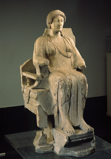 Enthroned deity: the so-called goddess of Tarentum ...