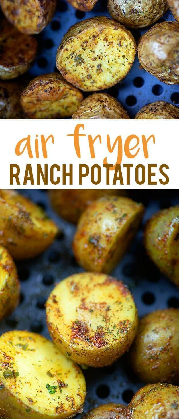 Ranch potatoes roasted in your air fryer or oven! Both methods are so easy and the seasoning on these potatoes is divine! The perfect side dish for any meal. #airfryerranchpotatoesrecipe #ranchpotatoes #sidedish #kartoffelnofen