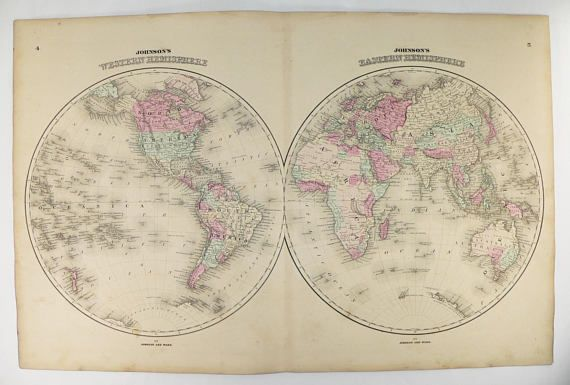 Exceptional Antique World Map 1862 Johnson Hemisphere Map, Eastern Hemisphere, Western  Hemisphere, Real Vintage Map Of The World, Unique Office Decor Availableu2026