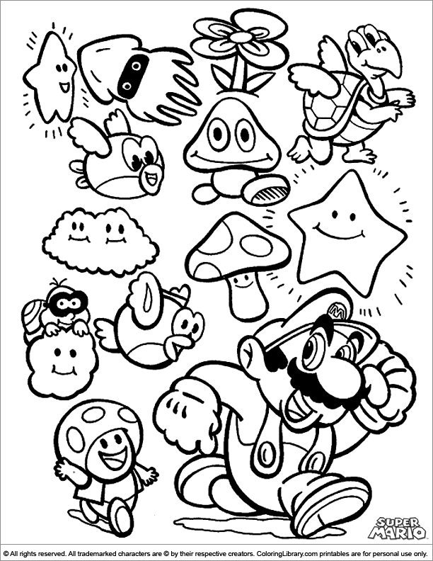 Download or print this amazing coloring page: Super Mario