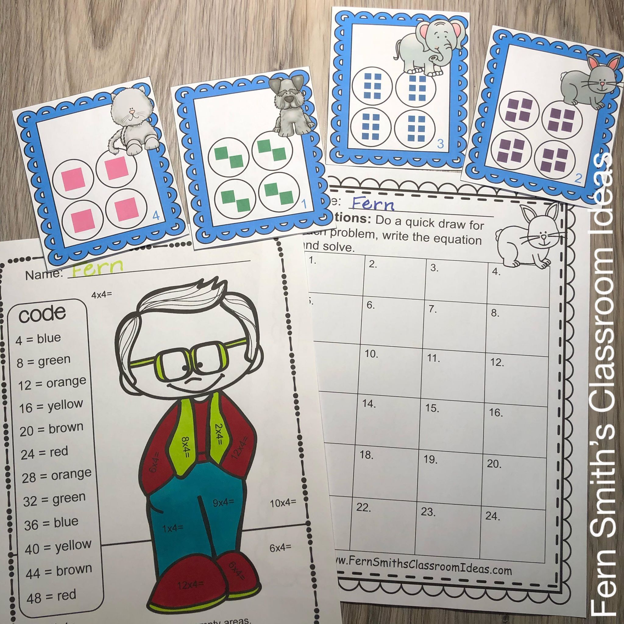 3rd Grade Go Math 4 3 Multiply With 3 Color By Number And