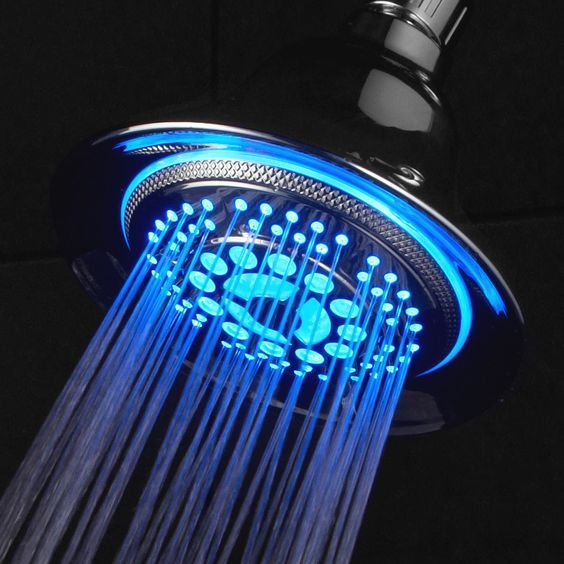 Dream Spa All Chrome Water Temperature Controlled Color Changing 5 Setting Led Shower Head By Top Brand Manufacturer Color Of Led Lights Changes Automatically According To Water Temperature Led Shower Head Shower Heads
