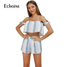 ddf7253ed16 2019 womens two piece sets off shoulder open back crop top and shorts  matching sets striped