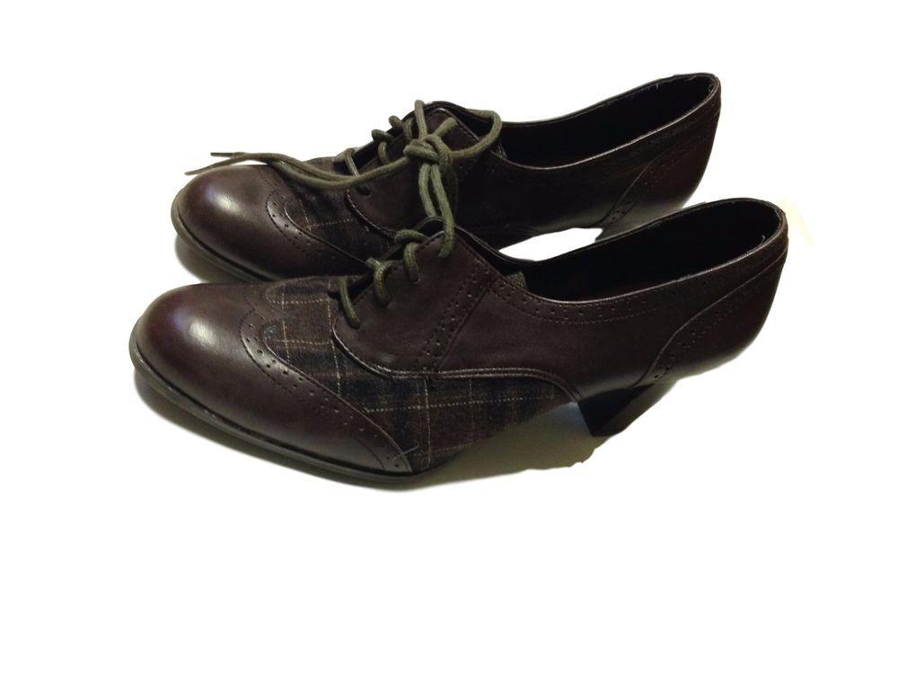 Etienne Aigner Brown Laceup Heels Oxfords Boots Shoes Booties - SZ 8.5 8.5 B #EtienneAigner #Booties