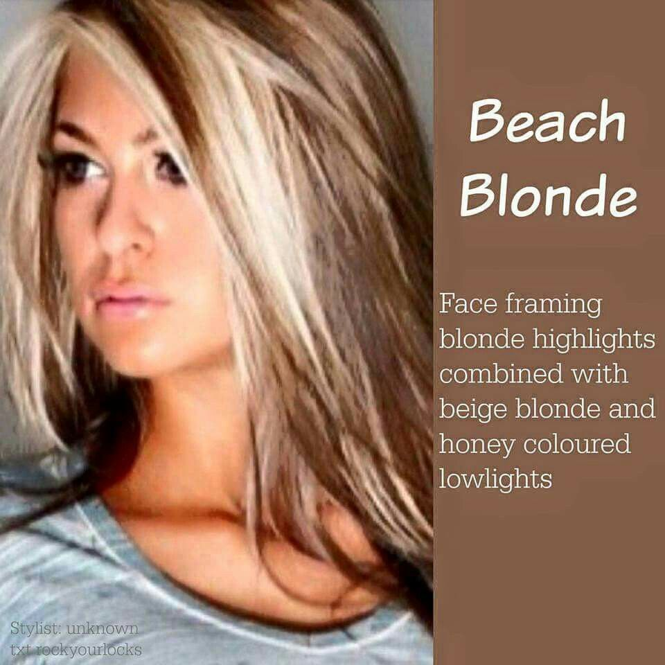 Beach blonde face framing blonde highlights with beige and honey