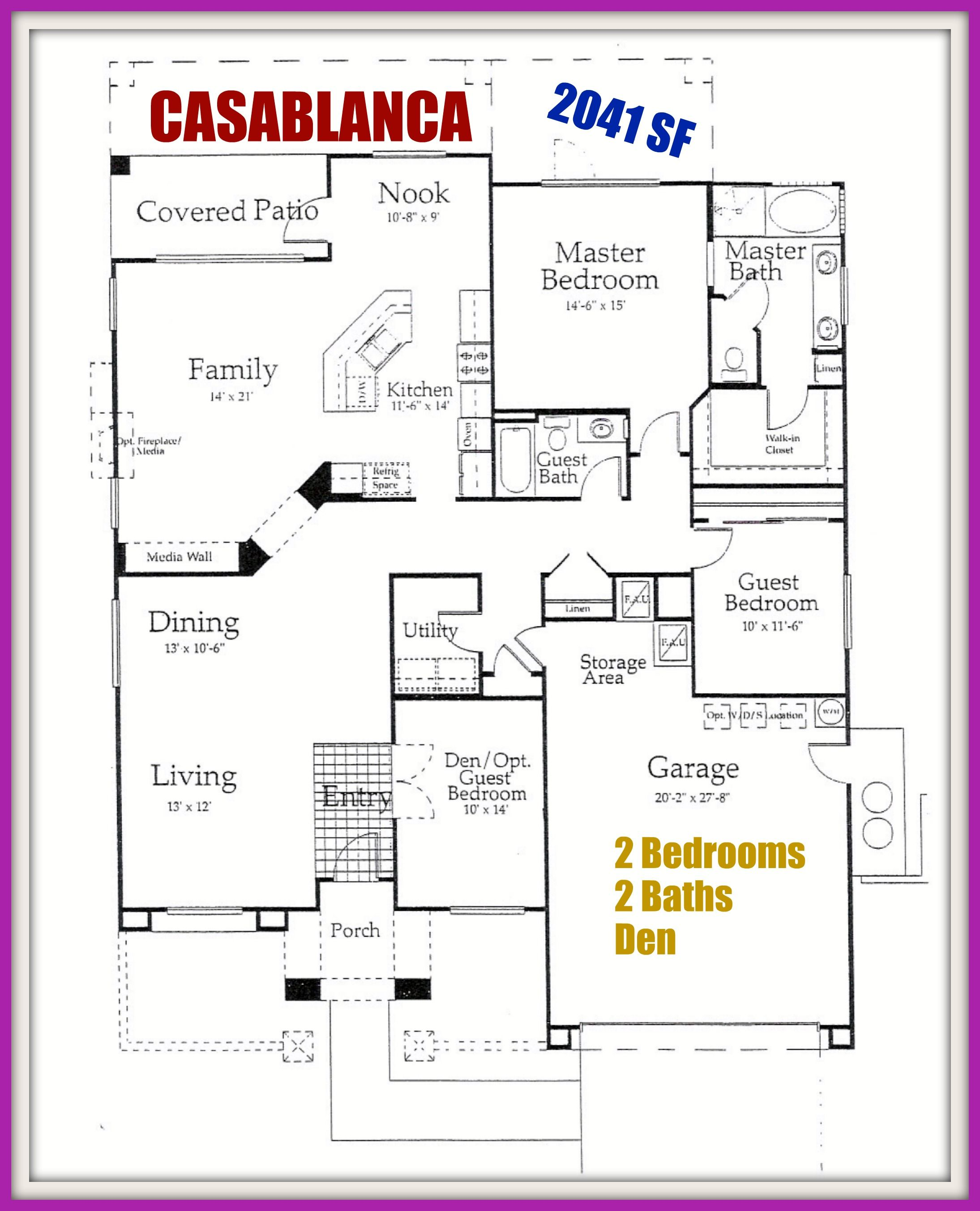 Del Webb SUN CITY PALM DESERT CA Floor plan for the CASABLANCA