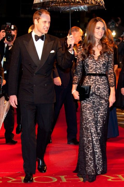 KATE MIDDLETON The Duchess of Cambridge made one of her most stylish turns to date at the royal premiere of War Horse in London in last year, wowing in a glam full-length black gown by Alice Temperley. (2012)