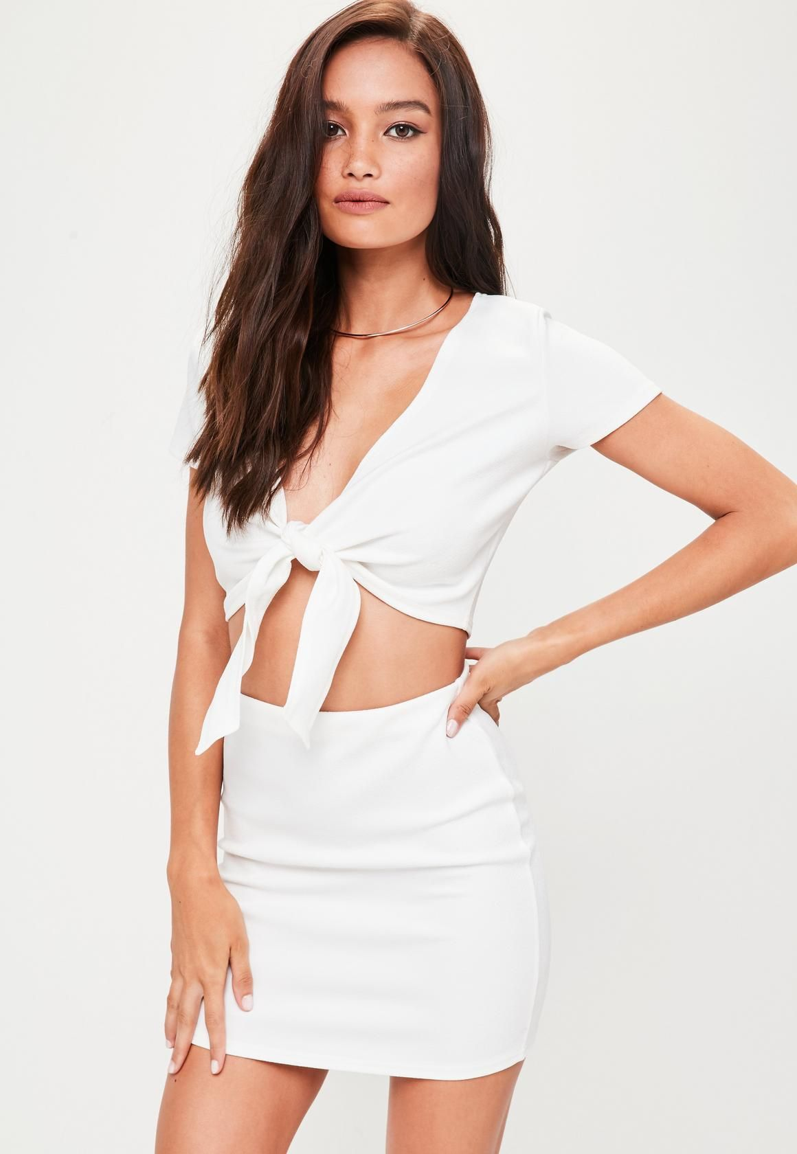 0b0c7aee4 Missguided - Petite White Tie Front Crop Top | MustHaves 2 0 1 8 ...