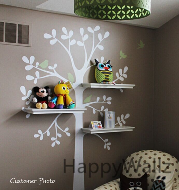 You can install shelves with on tree wall decal, see the image(shelves not included in this product).This is a lovely tree with some birds flying around, and also a lovely little house on its branch.Unlike other tree decals, you may have some shelves on the branches to put things.You ma