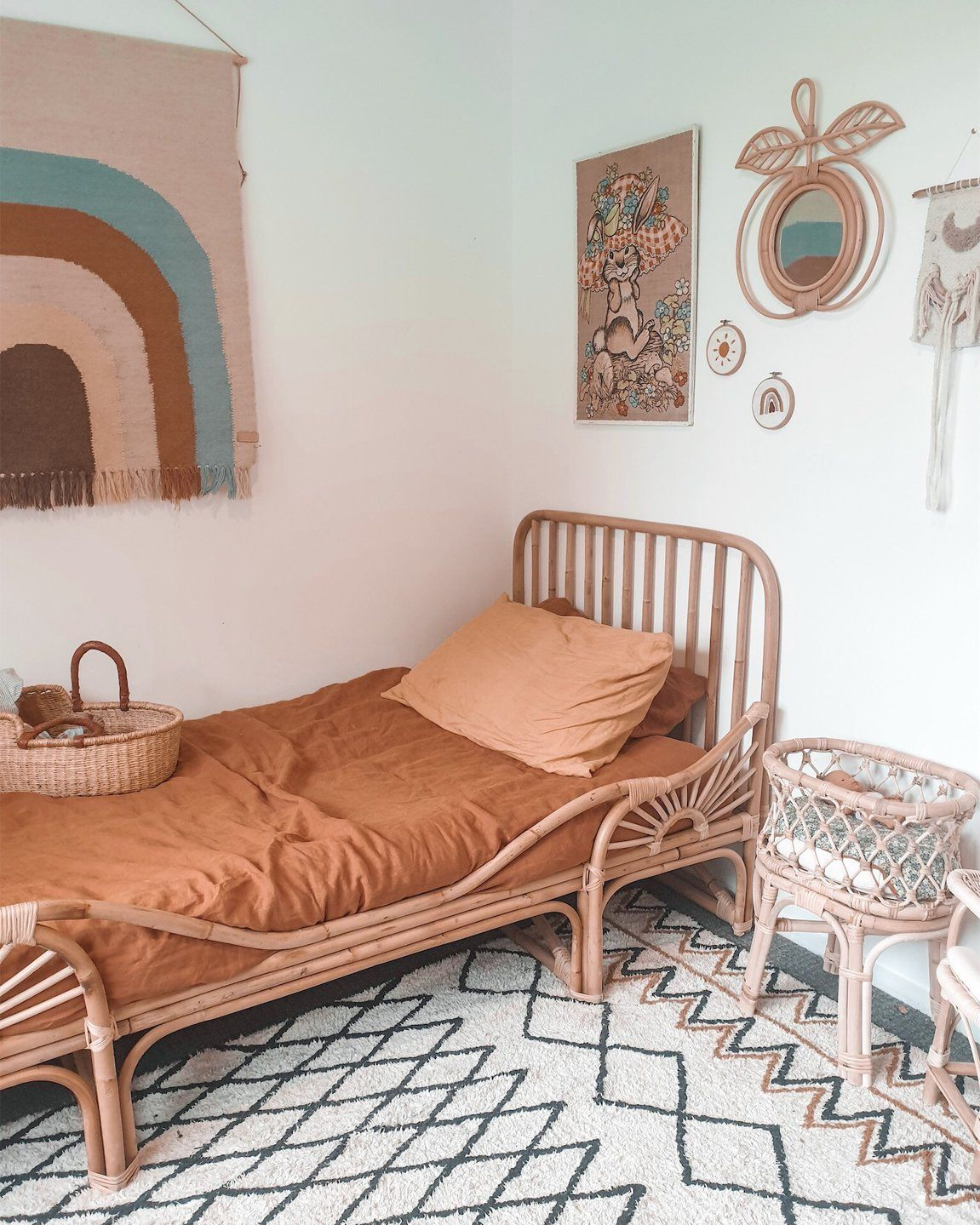 Rainbow Rattan Bed in 2020 Rattan bed frame, Home room