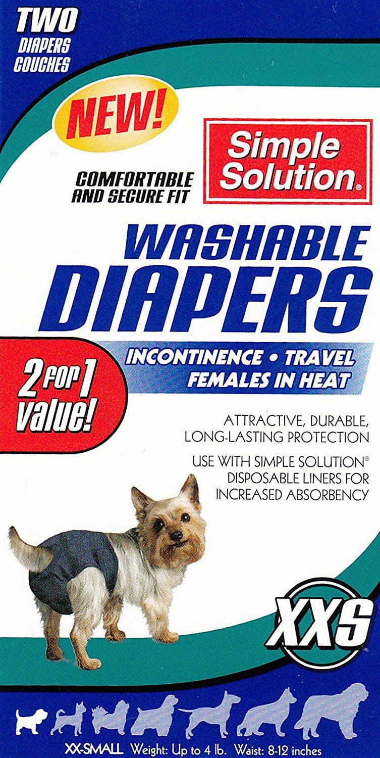 2pk simple solution washable diapers cover ups xxs dogs
