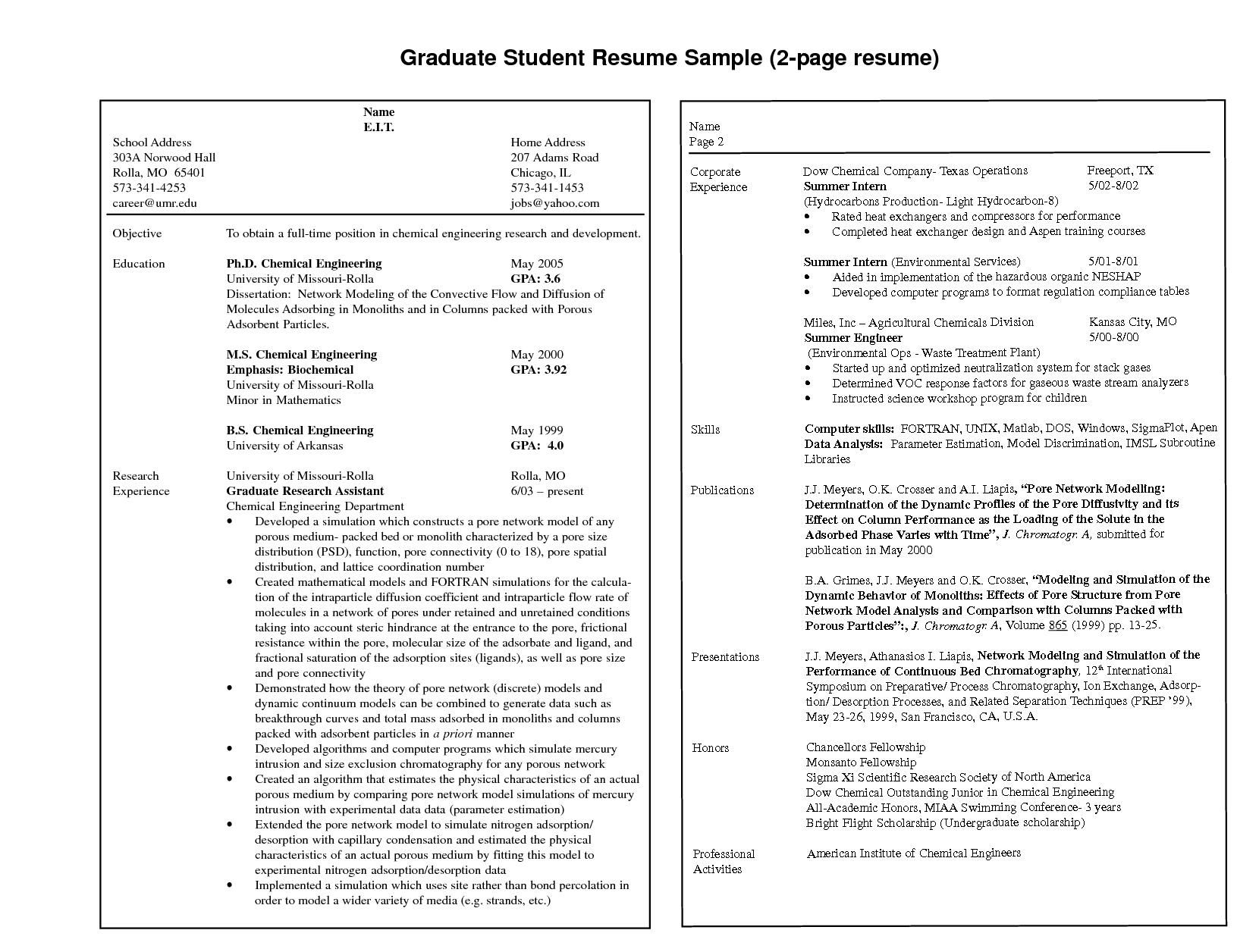 2 Page Resume Format Examples 4 Resume Examples Pinterest