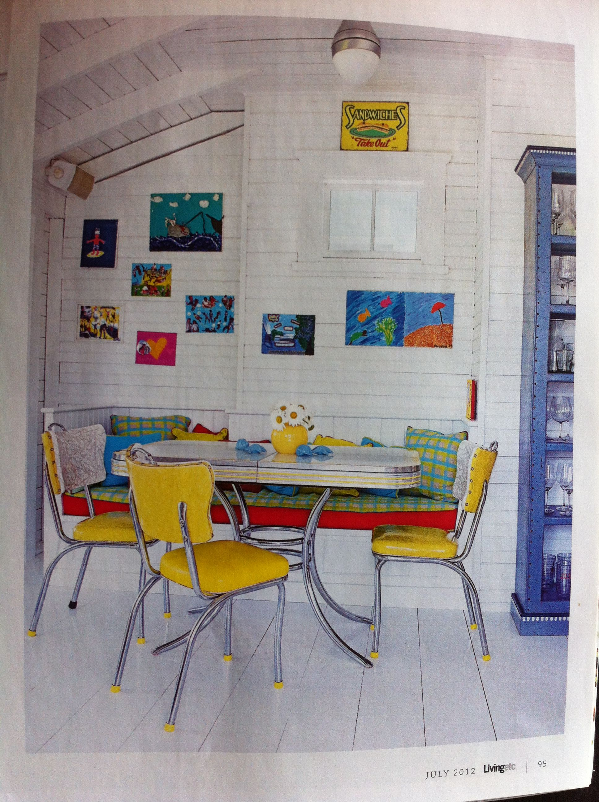 Brights on white kitchen diner Living Etc 2012 July issue