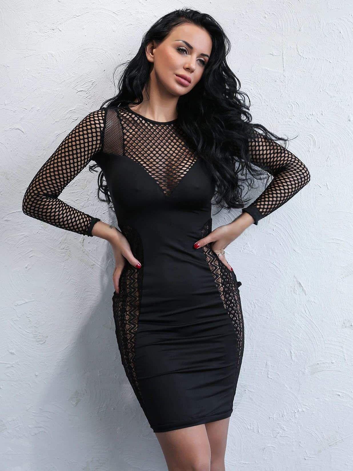 00c7d03ba5d5a Joyfunear Mesh Panel Lace Trim Bodycon Dress in 2019   Wish ...