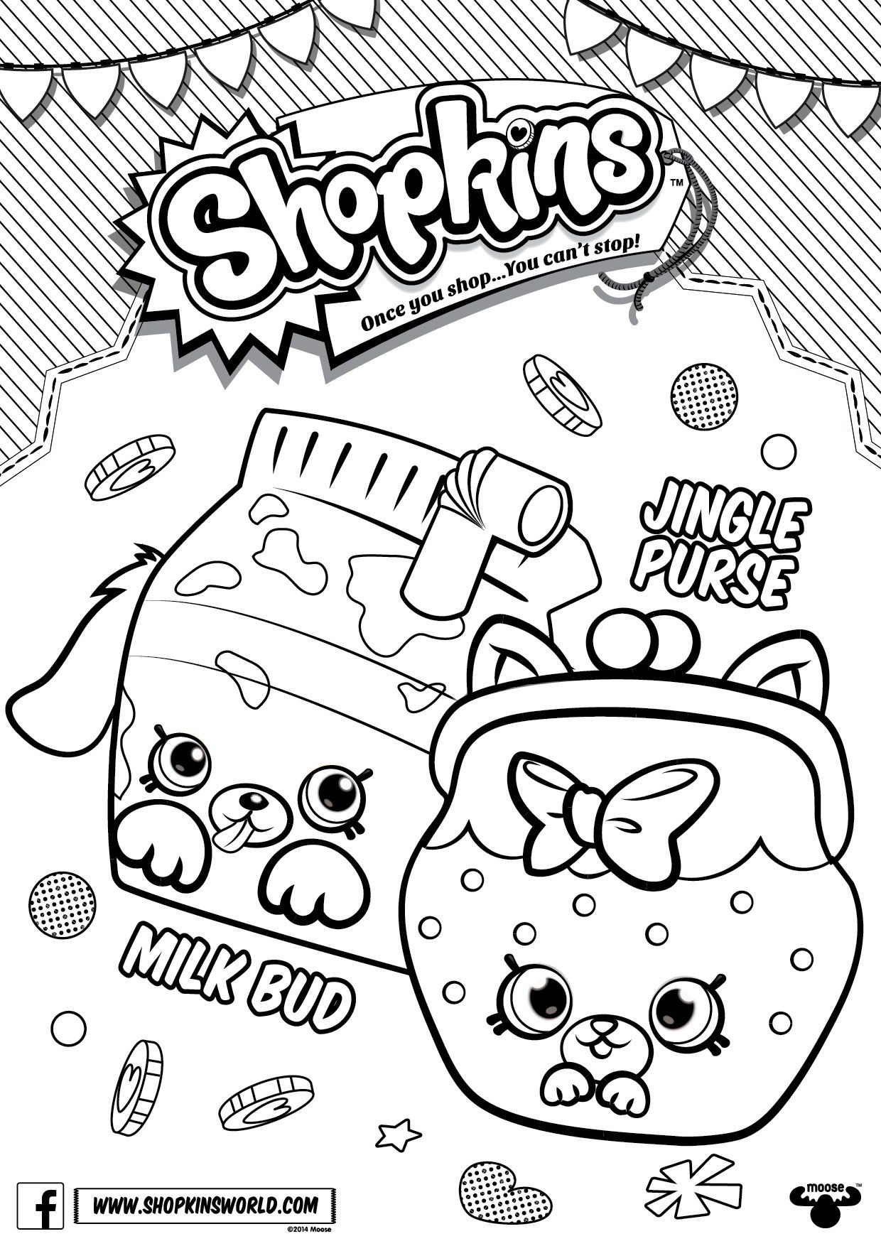 Shopkins Coloring Pages Season 4 Petkins Jingle Purse Milk Bud ...