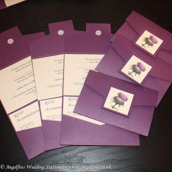 Wedding Invites Scotland: Scottish Thistle Photo Purple Wedding Pocketfold