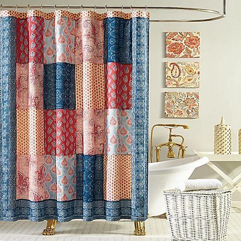 Jessica Simpson Grace Shower Curtain In Blue Orange Casa Dos