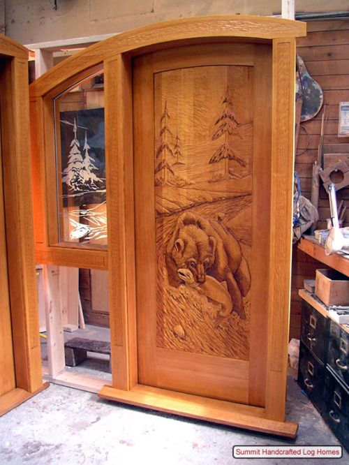 Puerta de madera tallada talla pinterest puertas de - Portales de madera ...