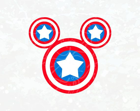 Captain America svg Mickey Mouse Head ear marvel iron on