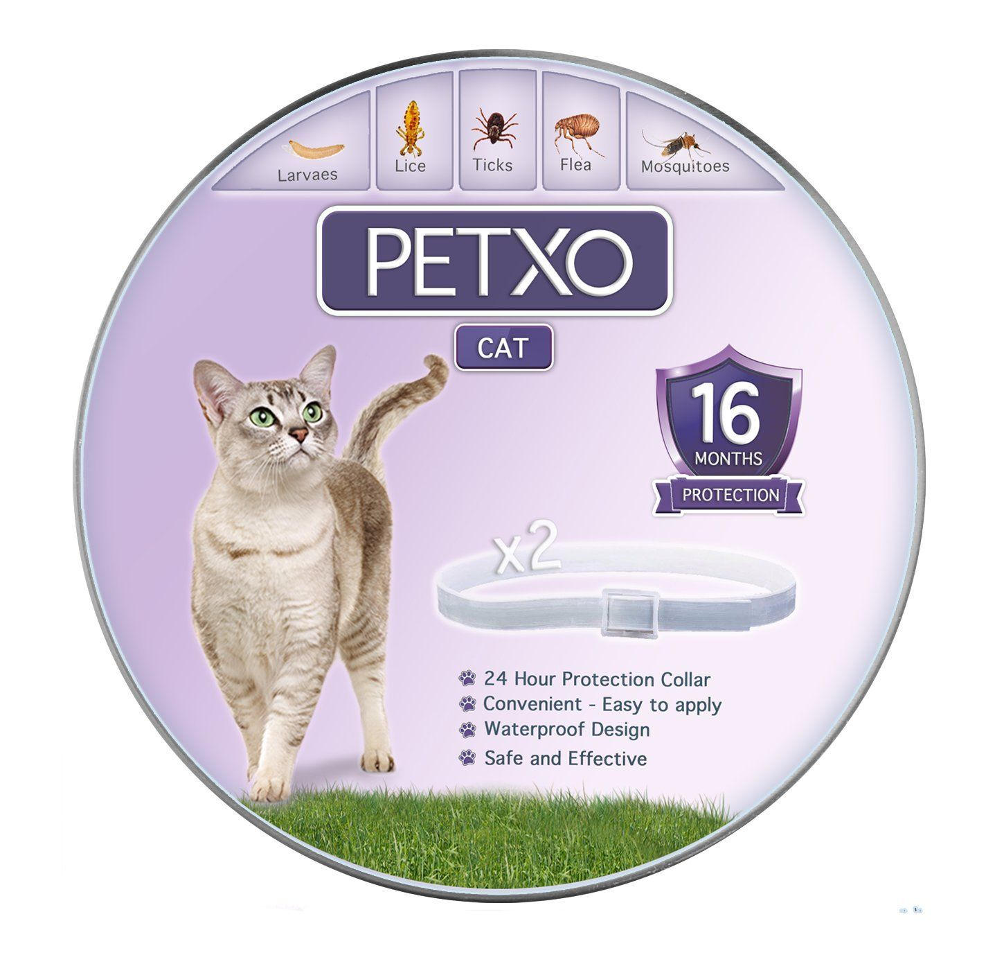 Petxo Cat Flea And Tick Collar Adjustable And Waterproof Cats Flea Collar Cats Tick Collar Flea And Tick Prevention For Cat Flea Collar Cat Fleas Cat Collars