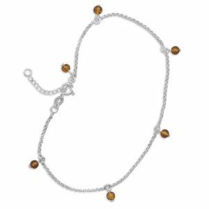 Sterling Silver 9 Inch +1 Inch Extension Baltic Amber Bead Charm Anklet Sterling Silver Collection. $43.31