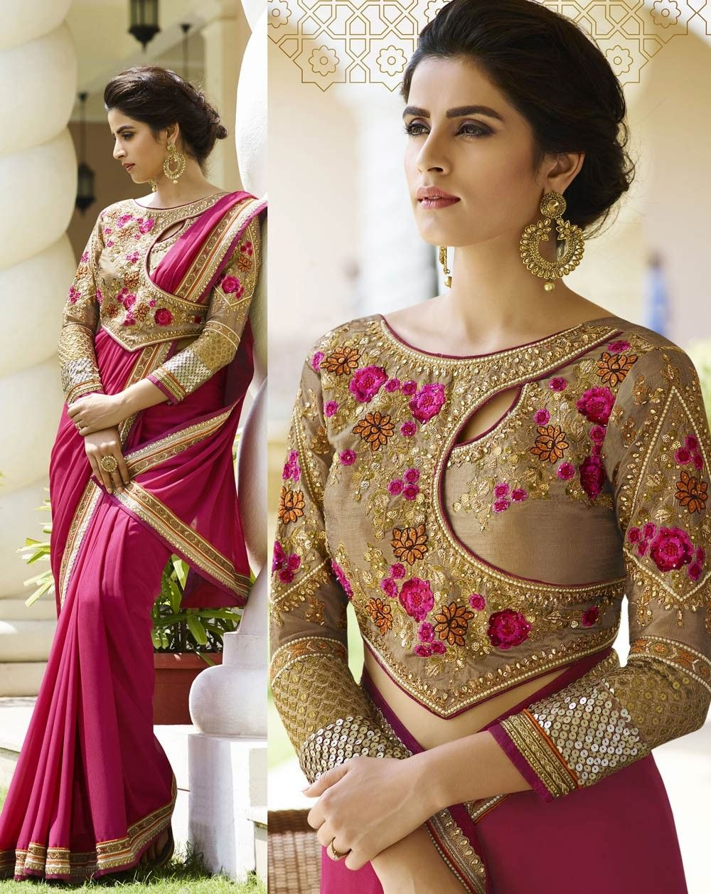 465be5b853 Pink silk Crepe party wear Indian saree with cut work border K16347 Modern  Blouse Designs,