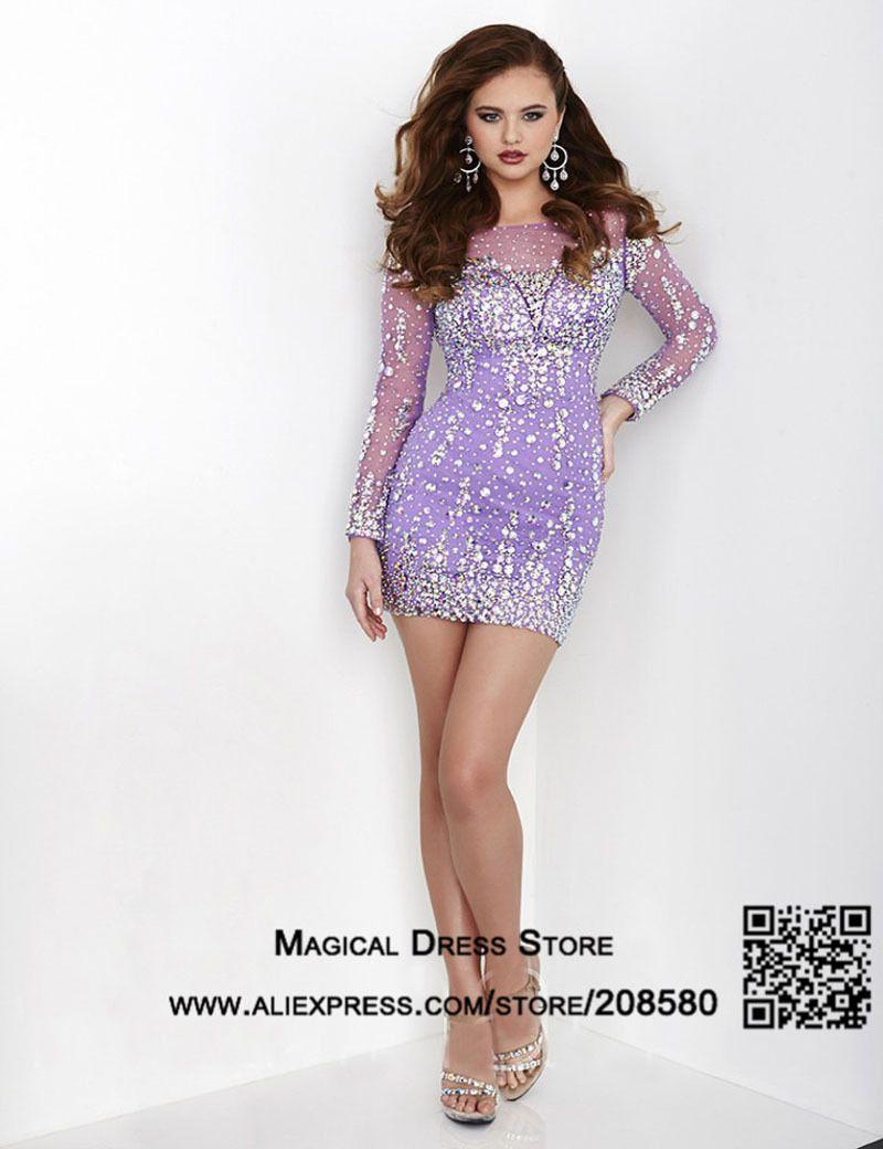 Purple sparkly cocktail dresses
