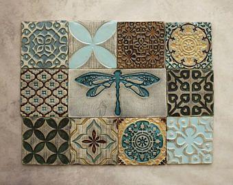 Fait A La Main Carreaux Multicolores Rustique En Ceramique Pour