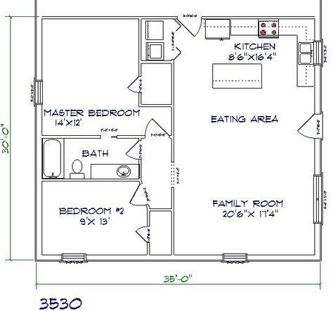 Barndominium Floor Plan 2 Bedroom 1 Bathroom 35x30 Barndominium Floor Plans Floor Plans House Floor Plans