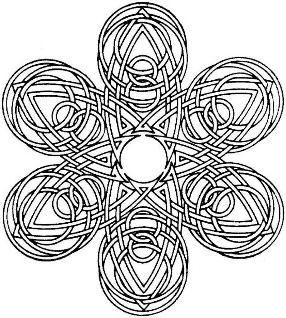 Difficult Geometric Coloring Page For Grown Ups