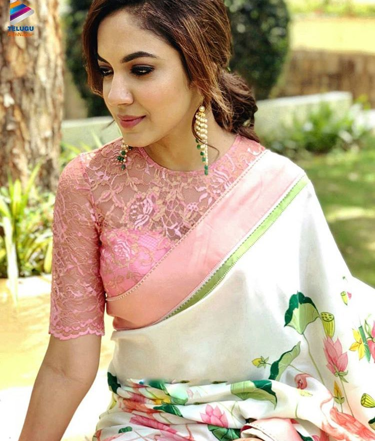 dea1a3782dabe Lace blouse in pink with satin hire floral printed saree sabyasachi style