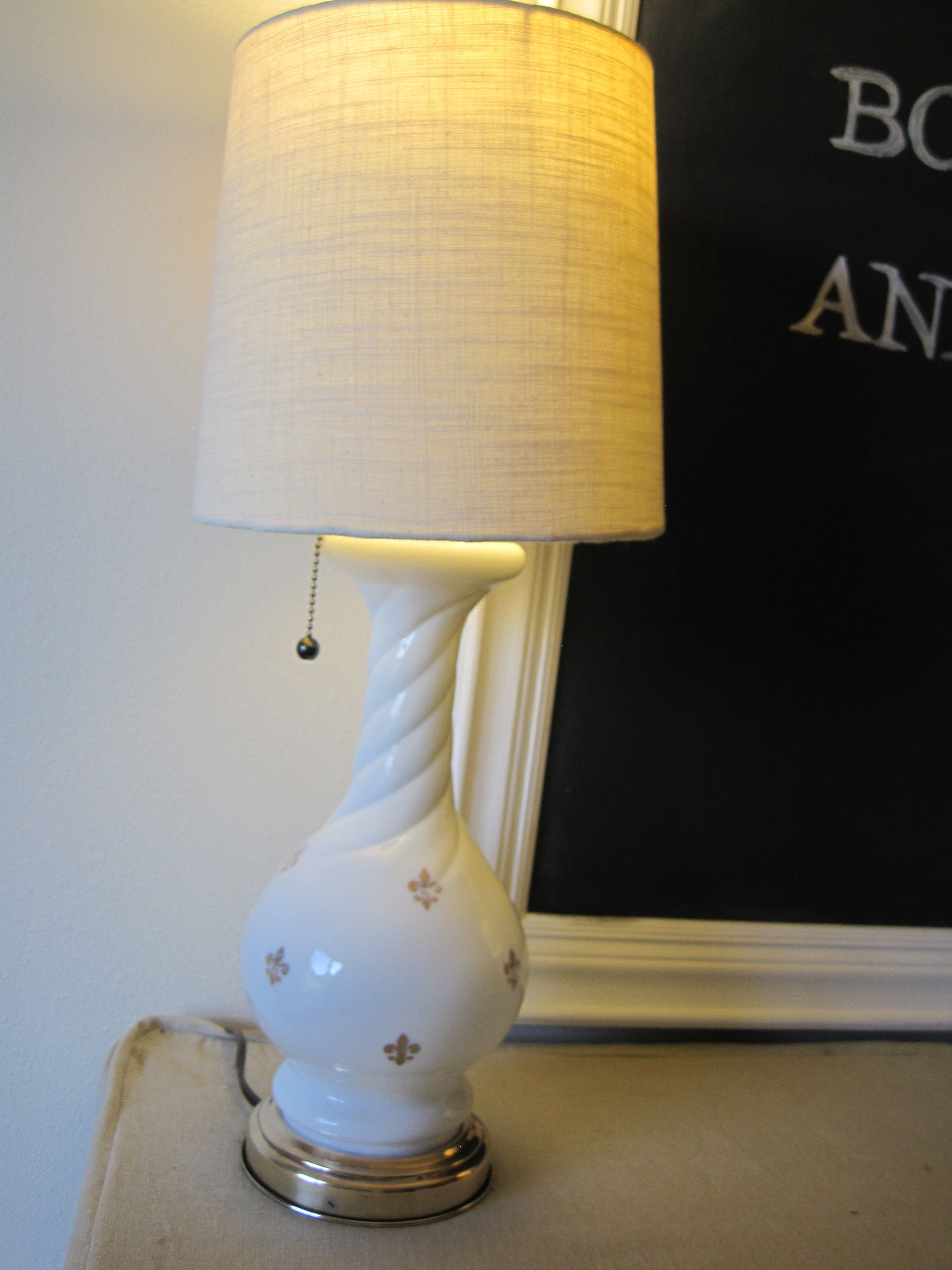Refurbished milk glass table lamp with fleur de lis embellishments refurbished milk glass table lamp with fleur de lis embellishments geotapseo Gallery