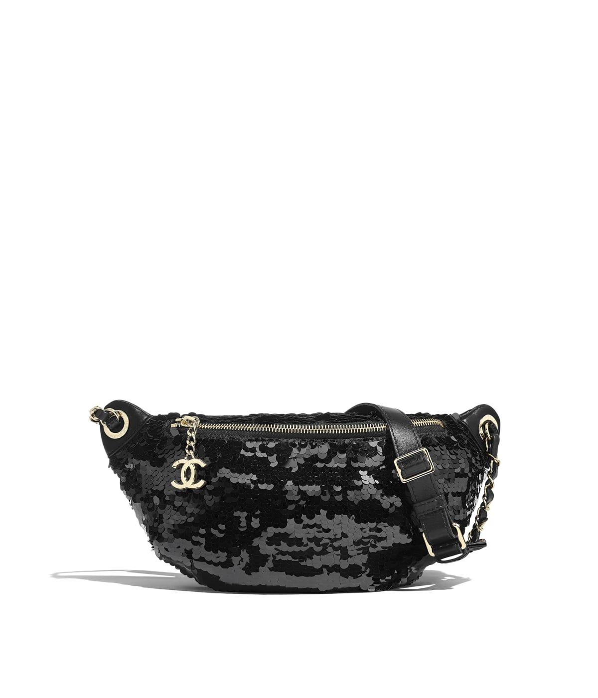 3952963a9aa7 Handbags of the Spring-Summer 2019 Pre-Collection CHANEL Fashion collection  : Waist Bag, sequins, lambskin & gold-tone metal, black on the CHANEL  official ...